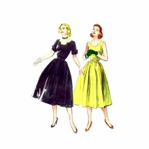 1950s Shaped Neckline Full Skirt Dress Butterick 6075 Vintage Sewing Pattern Size 16 Bust 34