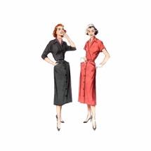 1950s Diagonal Bodice Slim Dress Butterick 6116 Vintage Sewing Pattern Size 14 Bust 32