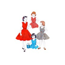 1950s Girls Jumper Long or Puff Sleeve Blouse Butterick 7014 Vintage Sewing Pattern Size 6