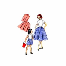 1950s Girls Tailored Blouse Full Skirt Shorts Butterick 7293 Vintage Sewing Pattern Size 4