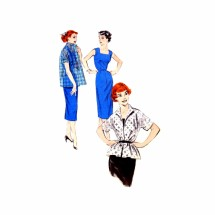 1950s Misses Sheath Dress and Jacket Butterick 7319 Vintage Sewing Pattern Size 18 Bust 36