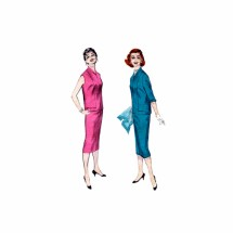 1950s Shawl Collar Blouse Skirt Dress Butterick 7341 Vintage Sewing Pattern Size 14 Bust 32