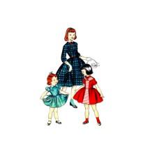 1950s Girls Dress Butterick 7415 Vintage Sewing Pattern Size 6