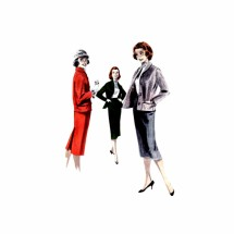 1950s Misses Skirt Jacket Suit Butterick 7901 Vintage Sewing Pattern Size 12 Bust 32