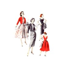 1950s V Back Sheath or Full Skirt Cocktail Dress and Jacket Butterick 8090 Vintage Sewing Pattern Size 15 Bust 35