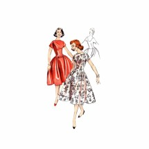 1950s Low Waist Deep Back Bouffant Dress Butterick 8526 Vintage Sewing Pattern Size 12 Bust 32