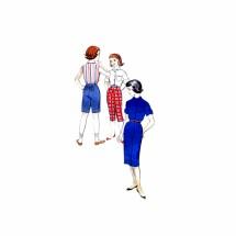 1950s Girls Shirt Skirt Pedal Pushers Bermuda Shorts Ivy League Sportswear Butterick 8551 Vintage Sewing Pattern Size 10 Breast 28