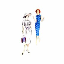 1950s Misses Tab Front Spectator Dress Butterick 8571 Vintage Sewing Pattern Size 14 Bust 34