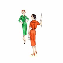 1950s Step-In Tailored Spectator Dress Butterick 8575 Vintage Sewing Pattern Size 14 Bust 34