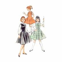 1950s Girls Jumper Blouse Butterick 8724 Vintage Sewing Pattern Size 6