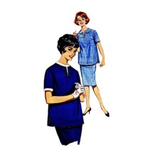1960s Maternity Dress Blouse Skirt Butterick 9844 Vintage Sewing Pattern Size 12 Bust 32