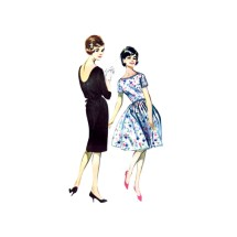 1960s Misses Scooped Back Sheath or Full Skirt Dress Butterick 9968 Vintage Sewing Pattern Size 16 Bust 36
