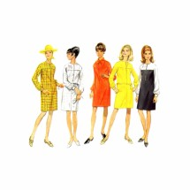 1960s Misses Jewel Neck Slim Dress Butterick 4758 Vintage Sewing Pattern Size 10 Bust 32 1/2