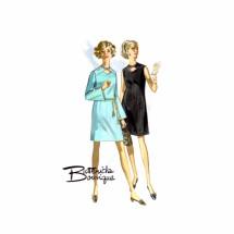 1960s Mod Keyhole Bell Sleeve Dress Butterick Boutique 5241 Vintage Sewing Pattern Size 10 Bust 32 1/2
