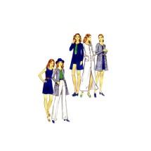 1970s Misses Cardigan Dress Top Pants Shorts Butterick 6635 Vintage Sewing Pattern Size 14 Bust 36