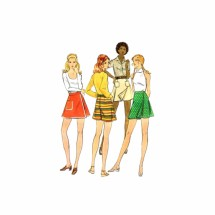 1970s Micro Mini Pantskirt Butterick 6640 Vintage Sewing Pattern Hip 36