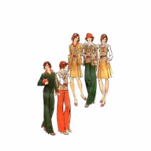 1970s Misses Jacket Vest Skirt Pants Butterick 3351 Vintage Sewing Pattern Size 14 Bust 36