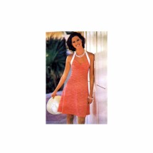 1970s Misses Fit and Flare Halter Dress Butterick 3702 Vintage Sewing Pattern Size 12 Bust 34
