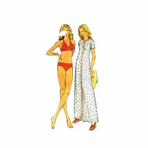 1970s Bikini Bathing Suit Cover-Up Butterick 3716 Vintage Sewing Pattern Size 14 Bust 36