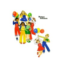 1970s Betsey Johnson Girls Skirt Pants Detachable Bib T-Shirt Butterick 4986 Vintage Sewing Pattern Size 5