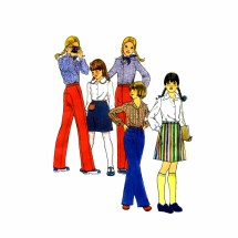 1970s Girls Skirts & Pants Butterick 4990 Vintage Sewing Pattern Waist 23