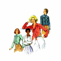 1970s Misses Front Button Blouse Butterick 5524 Vintage Sewing Pattern Size 10 Bust 32 1/2