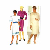 1980s Misses Dress and Slip Butterick 6391 Vintage Sewing Pattern Size 16 Bust 38