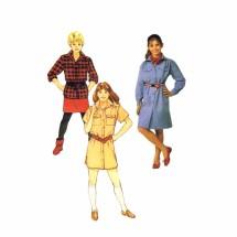 1980s Girls Dress Shirt Skirt Butterick 6708 Vintage Sewing Pattern Size 7 - 8 - 10