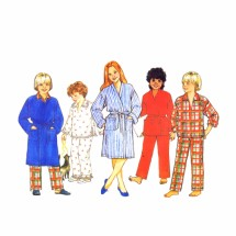 1980s Childrens Robe Pajamas Top Pants Butterick 6974 Vintage Sewing Pattern Size 12 - 14