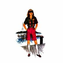 1980s Girls Shirt Top Skirt Shorts Butterick 3199 Vintage Sewing Pattern Size 7 - 8 - 10