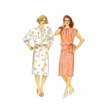 1980s Misses Dress Butterick 3577 Vintage Sewing Pattern Size 8 - 10 - 12