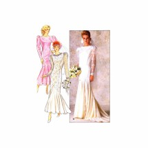 1980s Misses Mermaid Style Wedding Gown and Bridesmaid Dress Butterick 4415 Vintage Sewing Pattern Size 14 - 16 - 18