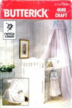 Butterick 4689 Sewing Pattern Baby's Room Canopy Crib Sheet