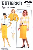 Butterick 4749 Sewing Pattern Evan-Picone Jacket Blouse Skirt Suit Size 6 - 8 - 10