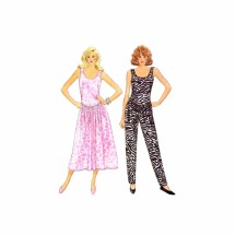 Misses Flared Dress and Dropped Waist Jumpsuit Butterick 4842 Vintage Sewing Pattern Full Figure Size 16 - 18 - 20 - 22