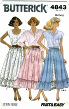 Butterick 4843 Misses Flared Front Button Skirt Size 8 - 12