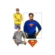 1980s Mens Pullover Top with Superman Iron-On Transfer Butterick 5917 Vintage Sewing Pattern Size XS - S - M - L - XL