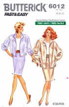 Butterick 6012 Jacket Top Skirt Suit Size 8 - 12 - Bust 31 1/2 - 34