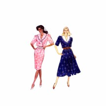 1980s Misses Straight or Flared Dress Butterick 6102 Vintage Sewing Pattern Size 8 - 10 Bust 31 1/2 - 32 1/2