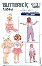 Butterick 6131 Sewing Pattern Infants Jumper Overalls Romper Top Dress Size NB - XL