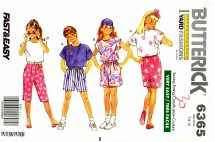 Butterick 6365 Sewing Pattern Girls Top Shorts Pants Skirt Size 7 - 10