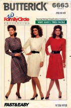 Butterick 6663 Sewing Pattern Misses Wrap Flared Dress Size 12 - 14 - 16