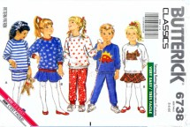 Butterick 6738 Sewing Pattern Childs Top Skirt Pants Size 5 - 6 - 6X