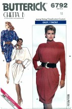 Butterick 6792 CHETTA B Blouson Back Dress Size 18