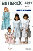 Toddler Girls Dress Size 2 - 4 Butterick 3261 Sewing Pattern