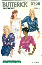 Butterick 3709 Misses Wrap Tops Size 8 - 12