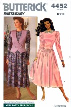 Butterick 4452 Sewing Pattern Womens Dress & Vest Size 6 - 10 Bust 30 1/2 - 32 1/2