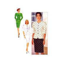 1990s David Warren Fitted Top and Skirt Butterick 4619 Vintage Sewing Pattern Size 12 Bust 34