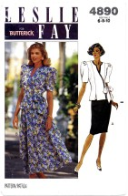 Butterick 4890 Leslie Fay Wrap Top & Skirt Size 6 - 10 - Bust 30 1/2 - 32 1/2