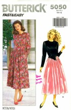 Butterick 5050 Sewing Pattern Dress Below Waist Flared Size 6 - 8 - 10